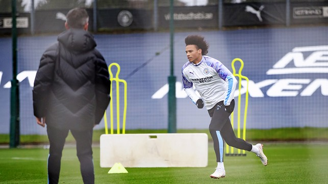 ACTION STATIONS: Our German winger goes through a specially prepared running drill