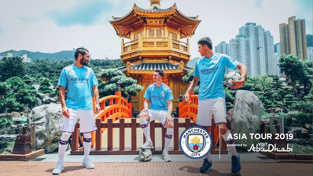 TOURIST TRIO: Ilkay Gundogan, Aymeric Laporte and Rodri check out some Hong Kong hot-spots with Etihad Airways