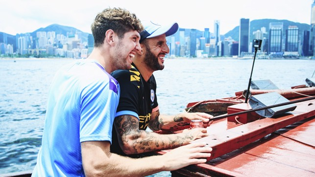 BOAT BUDDIES: Teammates on and off the pitch