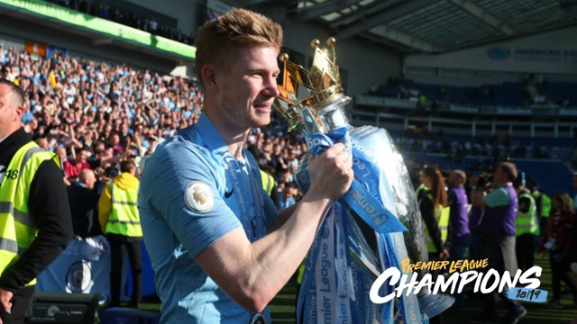BACK TO BACK: Kevin De Bruyne lifts his second Premier League trophy with City.