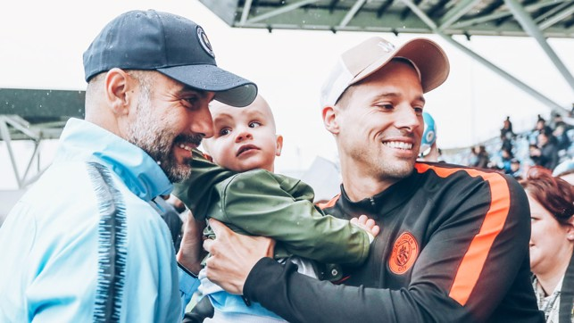 BOSS MAN: Pep took time out to meet and greet some of our youngest supporters