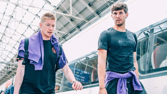 TWO'S COMPANY: Kevin De Bruyne and John Stones prepare for the journey to the capital
