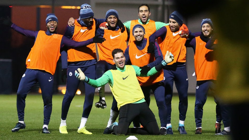 ALL SMILES: Ederson enjoying training with the squad