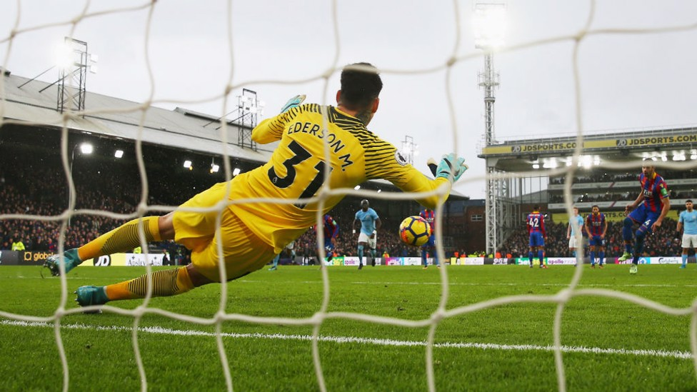 ON THE SPOT: Ederson saves a crucial late penalty at Crystal Palace on New Year's Eve