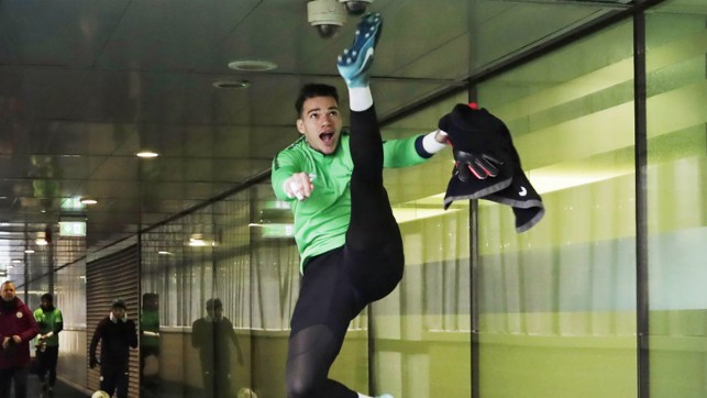 HIGH KICK: Ederson in good spirits