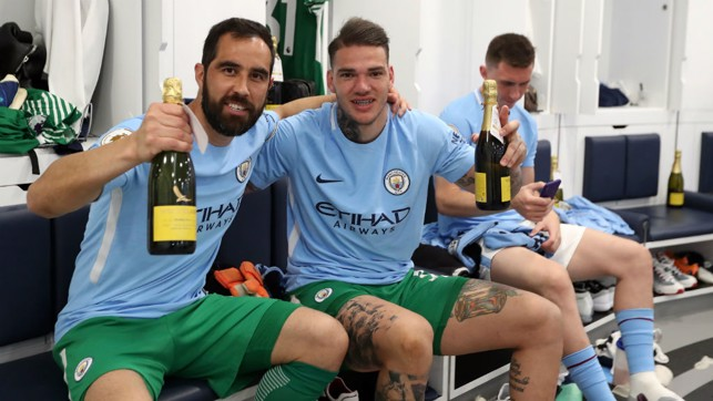 TOASTING SUCCESS: Keepers Claudio Bravo and Ederson
