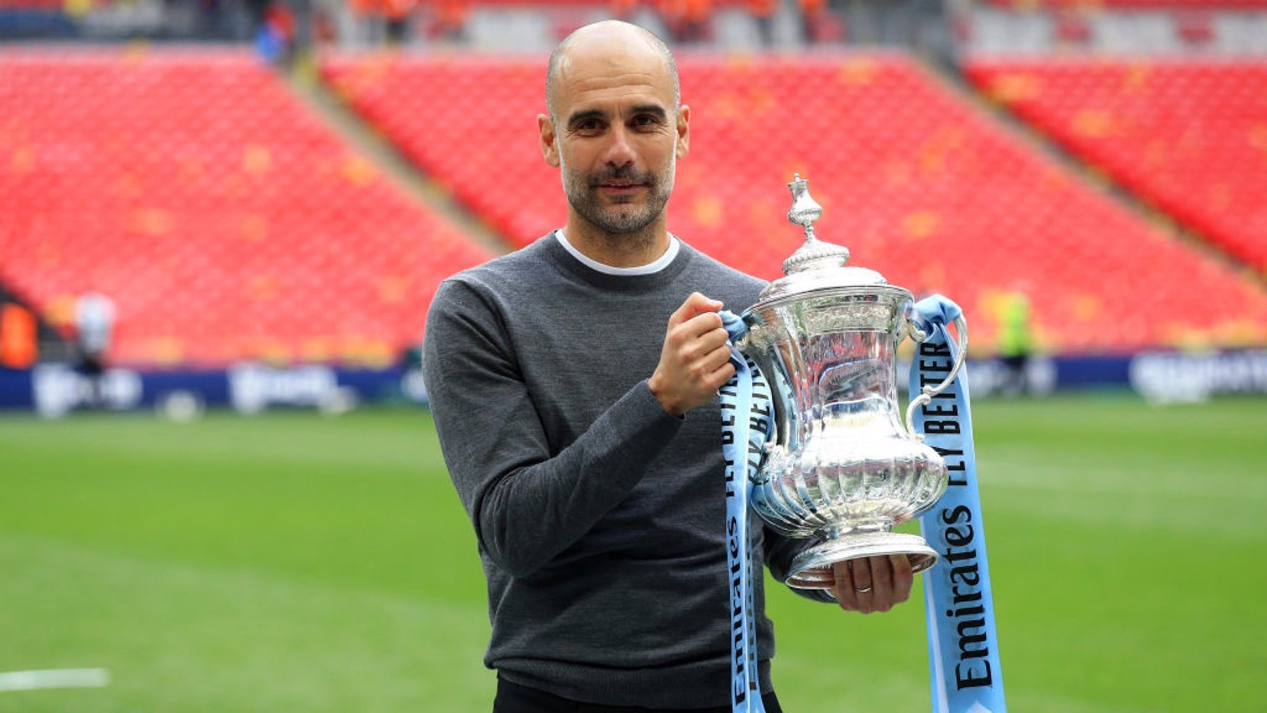 THE GAFFER: Pep with the FA Cup
