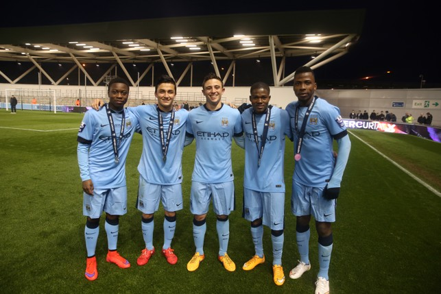CUP WINNERS: Iheanacho (right) celebrates with team-mates after winning the U21 International Premier League Cup in 2015