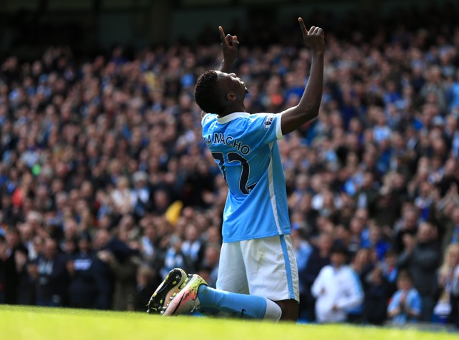 CLASSIC: Kelechi Iheanacho delivers his classic goal scoring celebration against Stoke