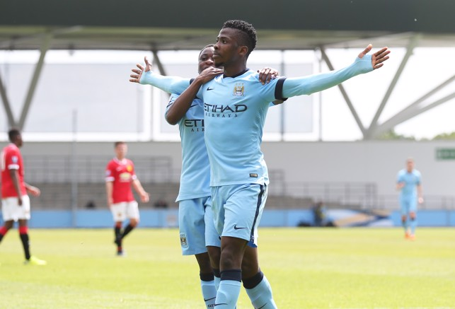 DERBY DAY: Iheanacho scores against Manchester United U21s in 2015.