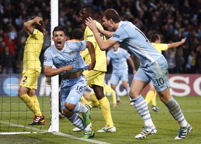 LATE DRAMA: Aguero scores in stoppage time to secure victory over Villarreal in 2011