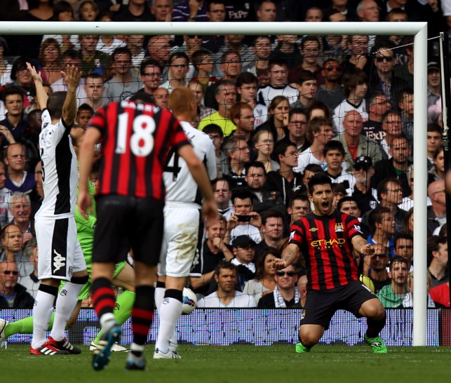 SUPER SERGIO: Aguero scores a brace against Fulham in 2011