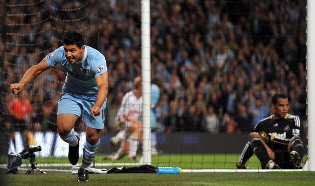 FIRST OF MANY: Sergio netted on his City debut against Swansea in 2011