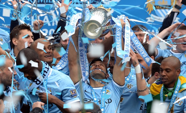 EYES ON THE PRIZE: Aguero looks up to the heavens after lifting the Premier League in 2014