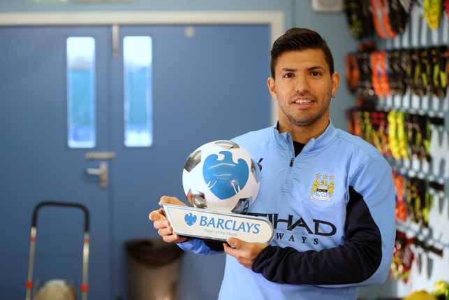 ACCOLADES: Aguero wins a Premier League player of the month award in 2013