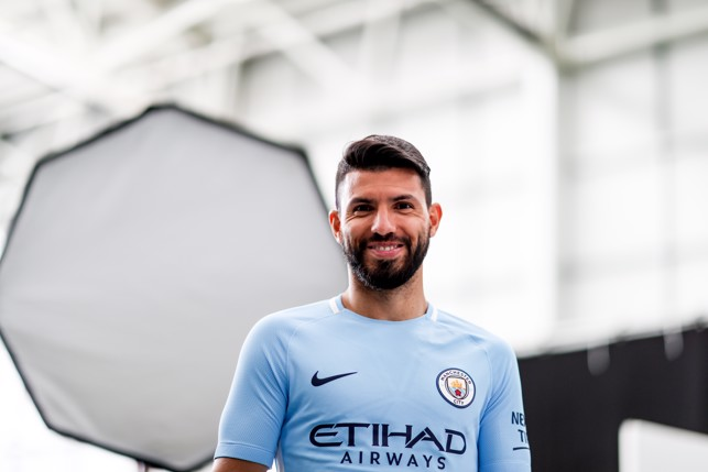 NEW KIT: Aguero dons the new next season home kit