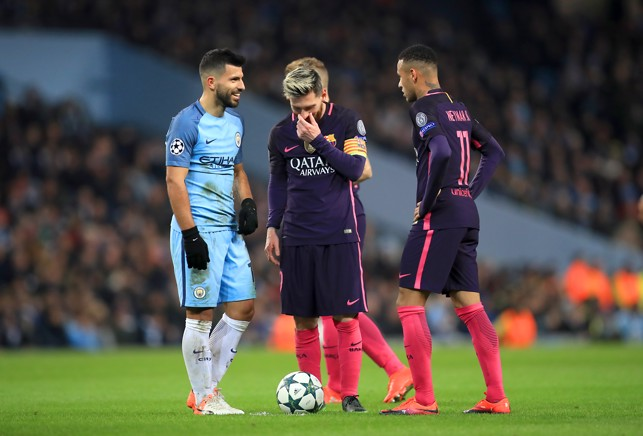 BEST OF THE BEST: Aguero has a chat with Messi and Neymar during our Champions Legue match against Barcelona