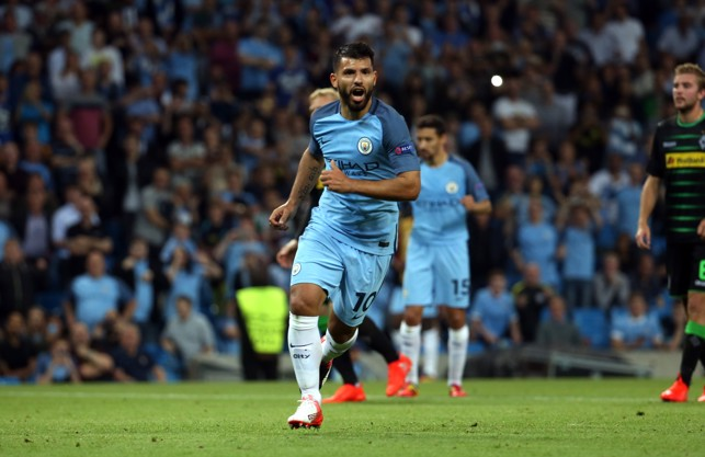 DOMINANCE ON THE BIG STAGE: Aguero in Champions League action against Borussia Monchengladbach