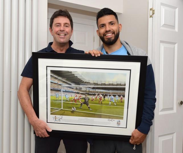 LUCKY FAN: Aguero meets a very lucky fan during our nothingwithoutyou fan campaign