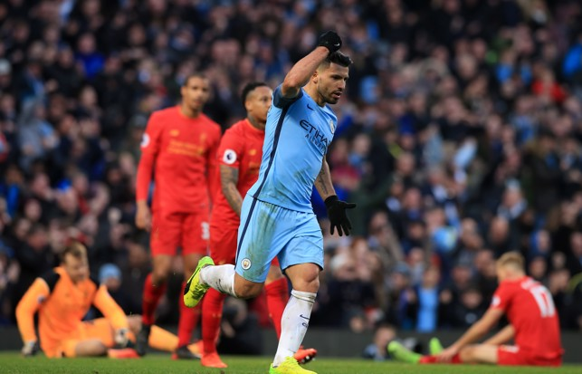 WHAT A GAME: Aguero scores against Liverpool at home in arguably our most intense match of the season.