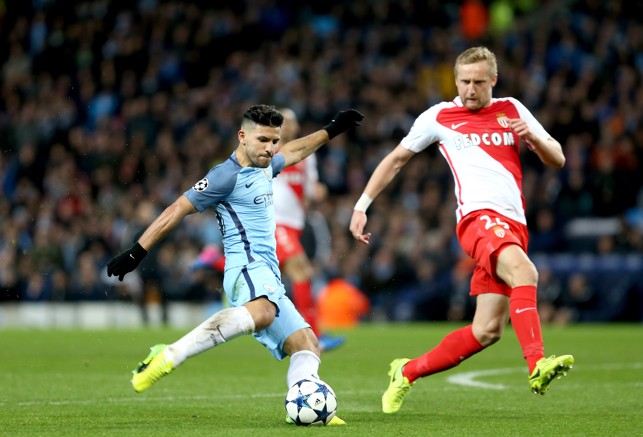 MADNESS AT THE ETIHAD: Aguero scores in a memorable night against AS Monaco.