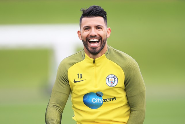 SMILE: Aguero shows off his smile in training.