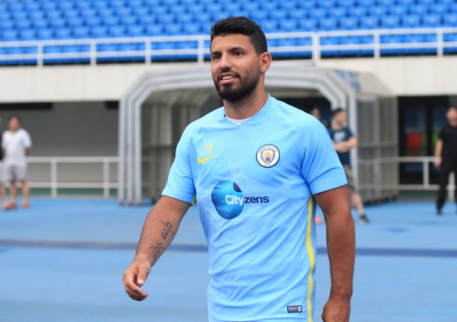 FIRST DAY BACK: Aguero's first day back in China.