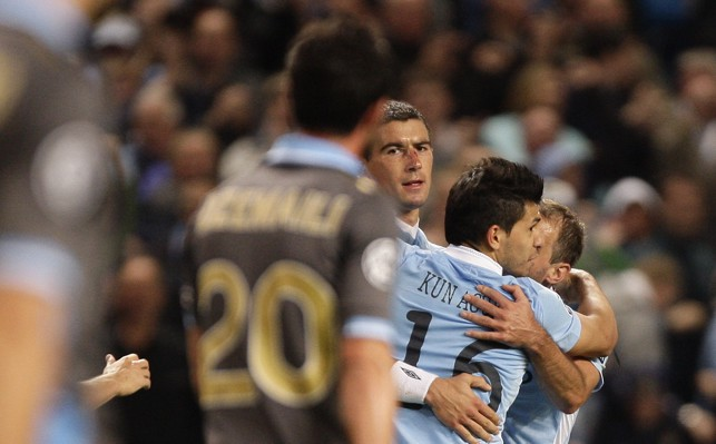THE MAN: Kolarov looks at the camera after scoring against Napoli in 2011