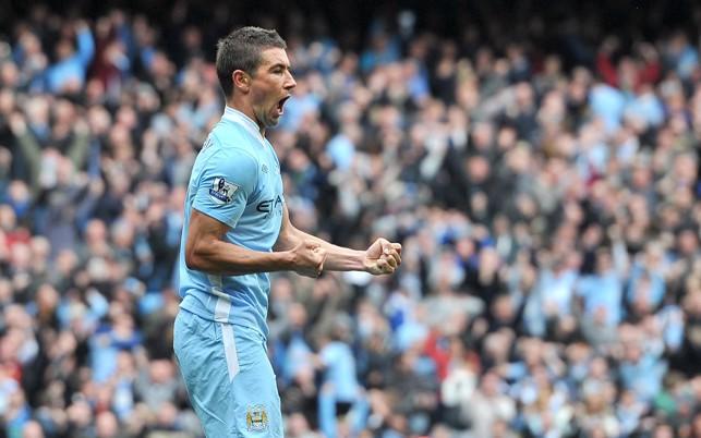 C'MON: Kolarov after scoring against Sunderland in 2012