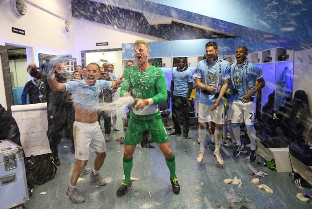 TITLE WIN: Zabaleta and the team celebrate Premier League success in 2014