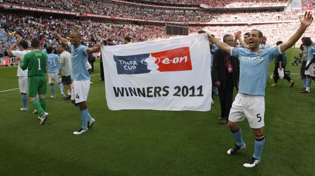 WE DID IT: Zabaleta revels in 2011 FA Cup glory