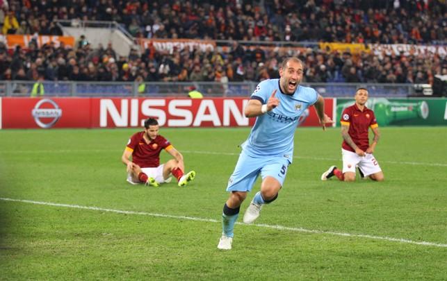 GET IN: Zabaleta scores a vital goal away to Roma in 2014