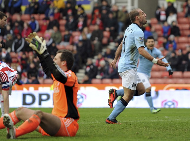 CUP GOAL: Zabaleta nets against Stoke in 2013 FA Cup action