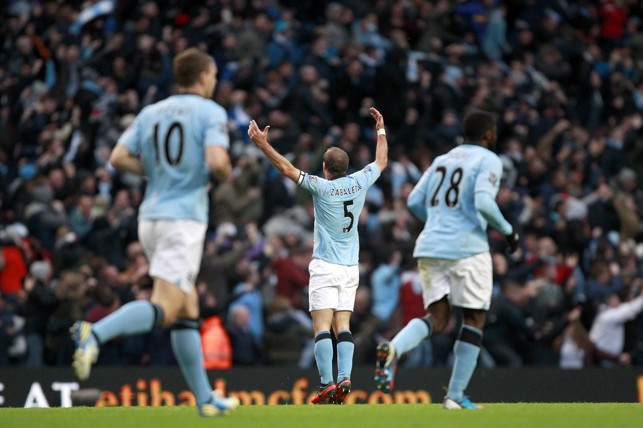 DERBY TIME: Zabaleta soaking up the atmosphere in the Manchester Derby