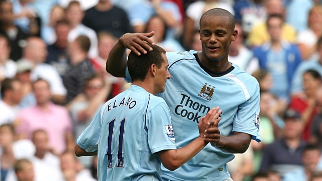 YOUNG GUN: Kompany makes his debut for the Blues against West Ham in 2008