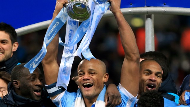 VICTORIOUS VINCENT: Kompany and Co lift the Capital One Cup in 2016