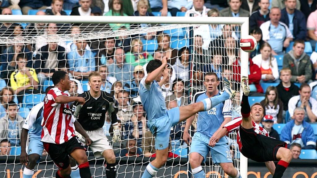 DEBUT. El estreno de Hart ante el Sheffield United en 2006.