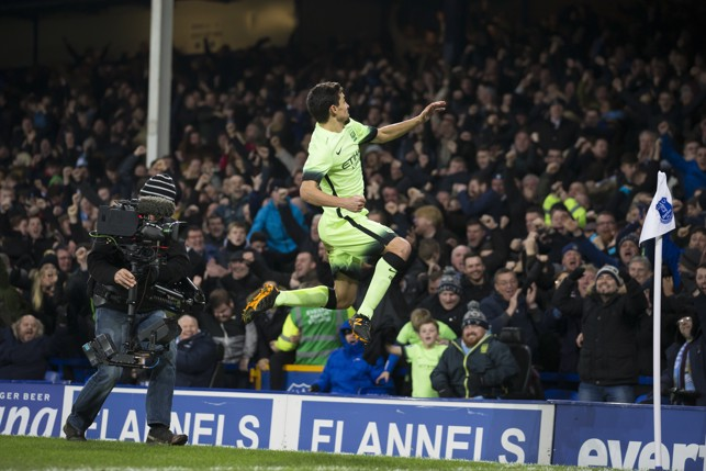 FLYING: Celebrating an important away goal against Everton in the 2016 League Cup semi-final.