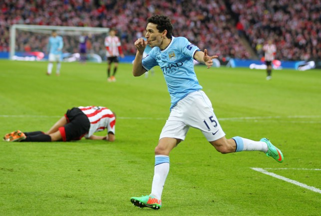 ON TARGET: Navas scores in the 2014 League Cup Final win.