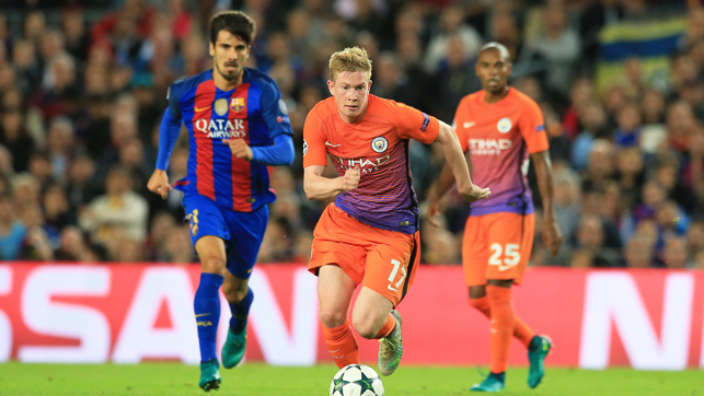 BARCA: De Bruyne in action against Barcelona