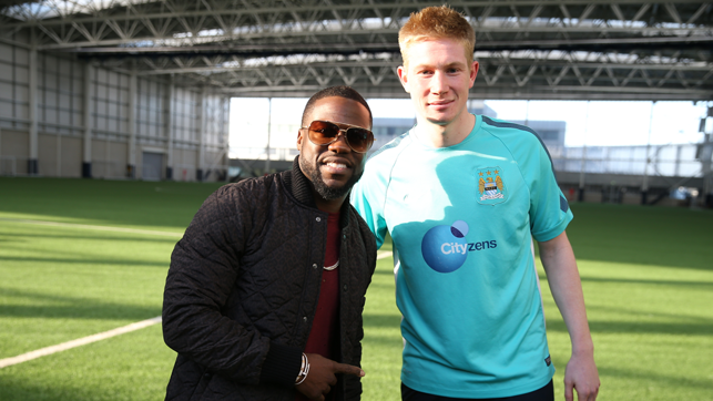 KEVIN AND KEVIN: Kevin Hart and Kevin De Bruyne share a photo at the CFA