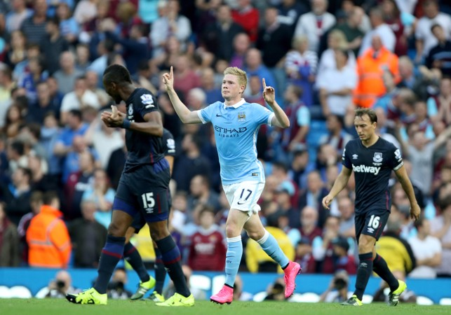 FIRST GOAL: De Bruyne celebrates his strike against West Ham
