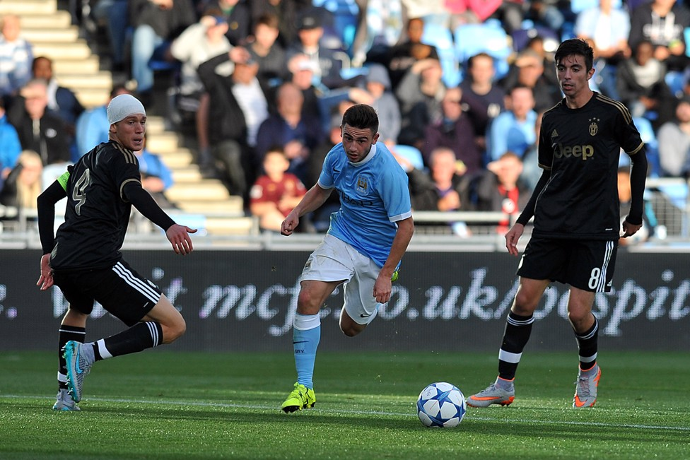 EYE ON THE PRIZE: Roberts chases the ball down against Juventus in the UEFA Youth League
