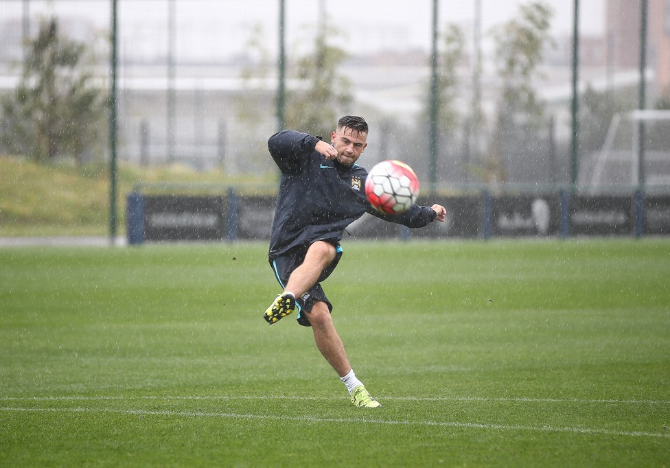 SHOOTING BOOTS: Patrick Roberts curls one into the net during training at CFA in 2015