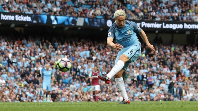 SIGNING OFF: Nasri helped City to a 3-1 over West Ham before his loan move to Sevilla