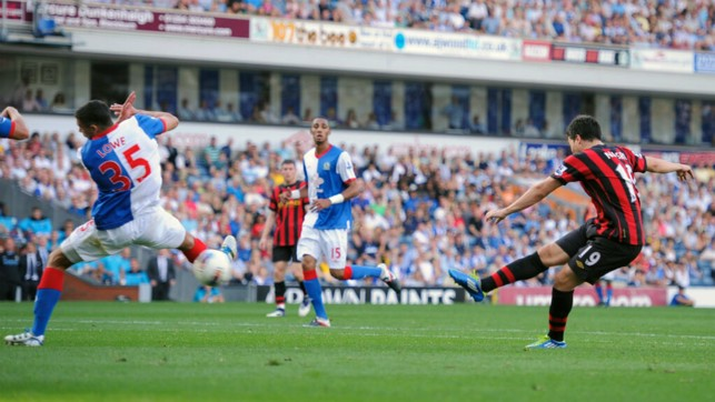 OFF THE MARK: Nasri scores for the first time against Blackburn in October 2011