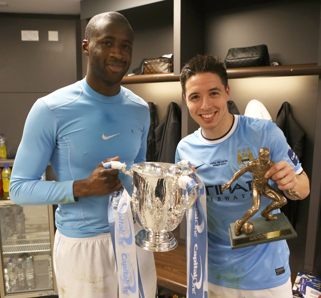 DOUBLE PRIZE: Nasri wins the Hardeker trophy - awarded to the man of the match - and League Cup in 2014