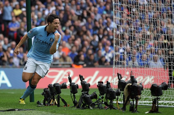 SMILE FOR THE CAMERA: Nasri celebrates after scoring in the 2013 FA Cup semi-final