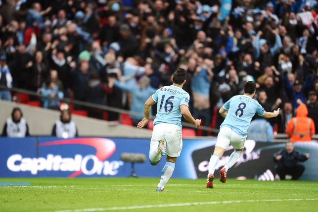 MAN FOR THE BIG OCCASION: Nasri scores in the 2014 League Cup final