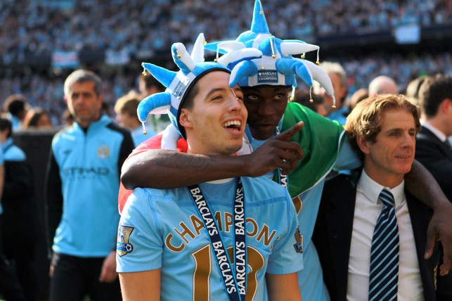 OVERWHELMED: Nasri looks over the moon after Premier League success in 2012